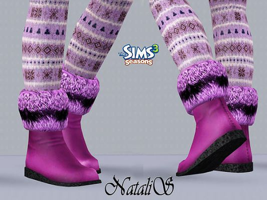 Sims 3 boots, shoes, fur, footwear