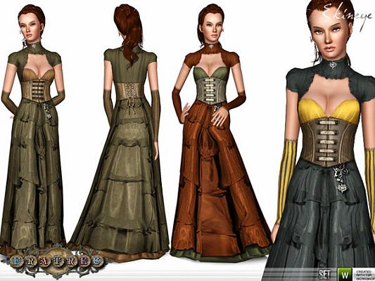 Sims 3 outfit, dress, victorian, flatres