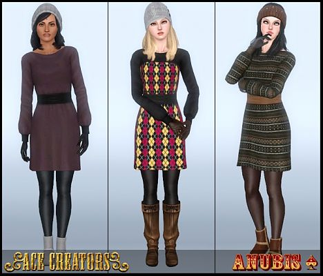 Sims 3 dress, sweater, clothing, sims 3