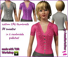 Sims 3 buttons, ruffles, sweater