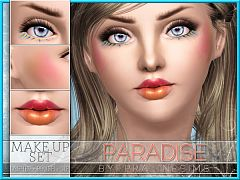 Sims 3 blush, makeup, cosmetics, lipstick, set