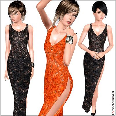 Sims 3 lace, gown, dress, slit, fashion, formal