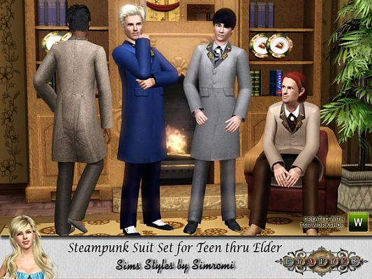 Sims 3 steampunk, suit, set, clothes