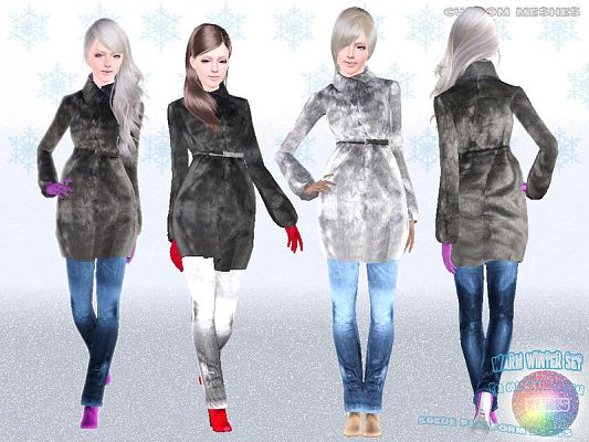 Sims 3 outfit, fashion, clothing, female, coat, outerwear