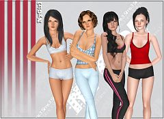 Sims 3 top, clothes, females, athletic, sport