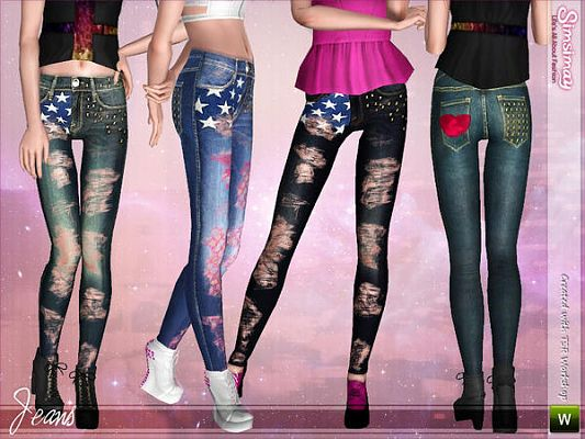 Sims 3 jeans, denim, clothes, clothing