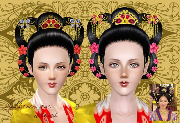 Sims 3 hair, hairstyle, female, chinese, princess, sims3