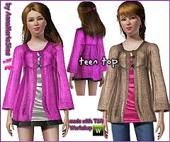 Sims 3 satin, sweater, buttons