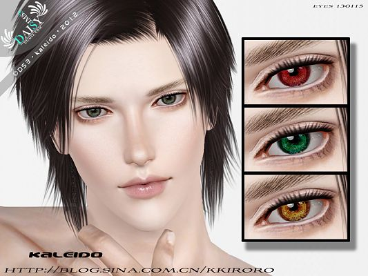 Sims 3 eyes, contact lenses, male, makeup