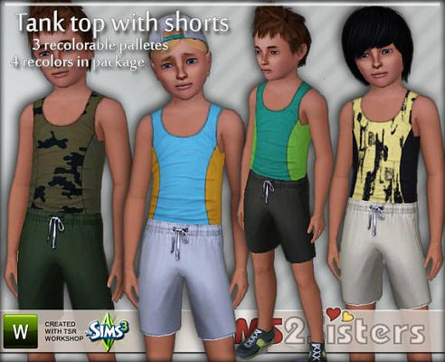 Sims 3 top, shorts, kids, cloth, clothes, fashion