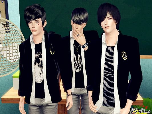 Sims 3 top, uniform, school, male, clothing