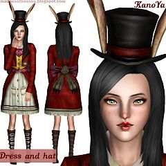 Sims 3 outfit, fashion, clothing, female, dress, hat, accessories