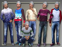 Sims 3 top, male, clothes, fashion, bottom, sweater, jeans