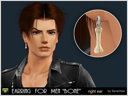 Sims 3 earrings, accessory, jewelry, males, bones