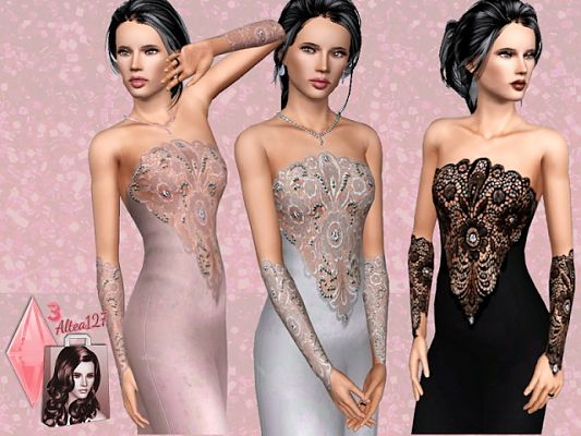 Sims 3 dress, formal, gloves, lace
