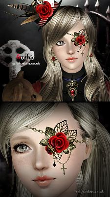 Sims 3 accessory, jewelries, gothic, set