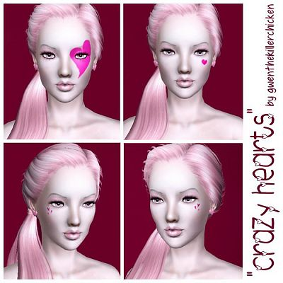 Sims 3 hearts, costume, makeup