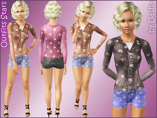 Sims 3 outfit, star, clothing, fashion