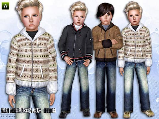 Sims 3 jacket, jeans, outdoor, set, clothing