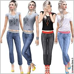 Sims 3 jeans, denim, cuffed, jogger, pants, bottom, clothing, sims3