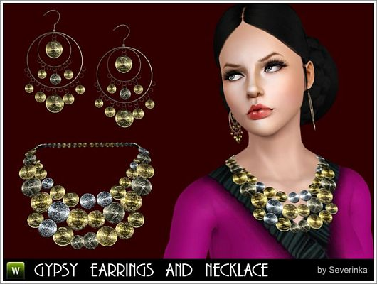 Sims 3 earrings, necklace, jewelry, female, accessories