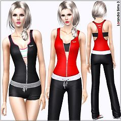Sims 3 zip, athletic, top, sport, layered, clothing, sims3