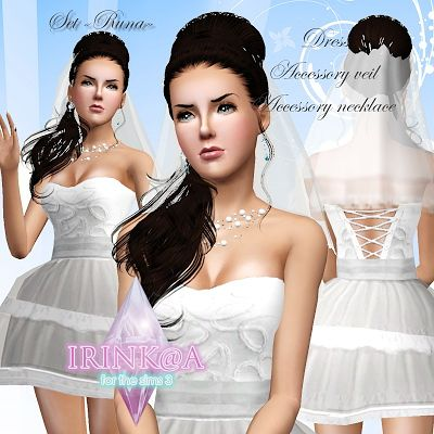 Sims 3 wedding, dress, accessory, veil, necklace, bridal