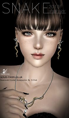 Sims 3 accessory, jewelries, snake, set, swarovski