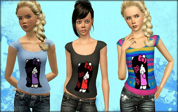 Sims 3 top, clothes, fashion, females, shirt