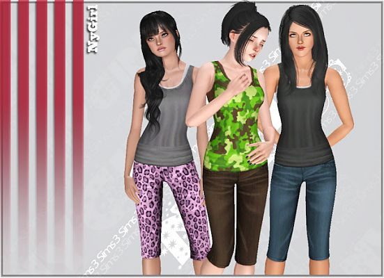 Sims 3 tank, capri, outfit, clothing