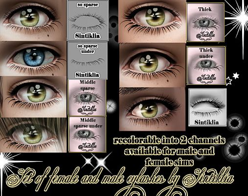 Sims 3 eyelashes, accessories