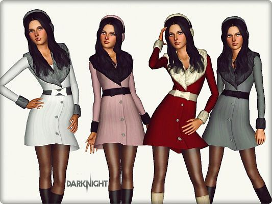 Sims 3 coat, outfit, fashion, clothing, casual, female
