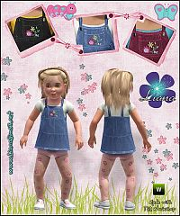 Sims 3 outfit, denim, dress, fashion, toddler