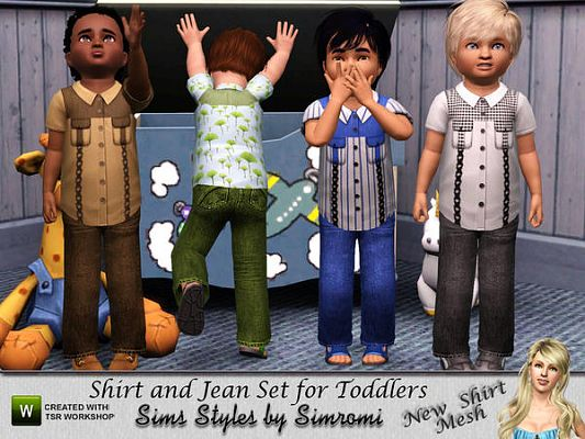 Sims 3 jeans, skirt, toddler