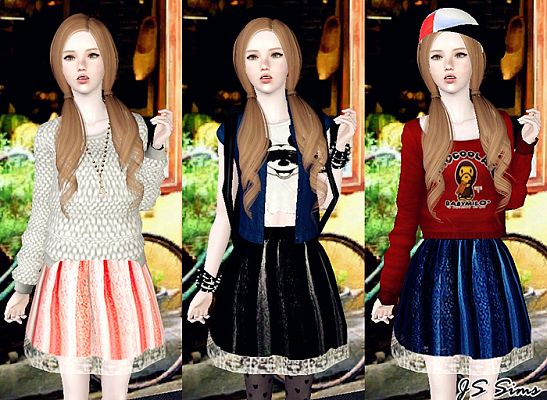 Sims 3 skirt, fashion, clothing, outfit, female