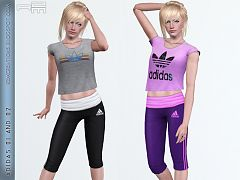 Sims 3 top, clothes, athletic, sport, bottom, capris, pants