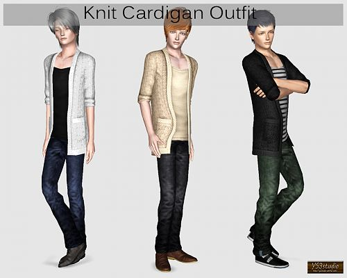 Sims 3 knit, cardigan, outfit