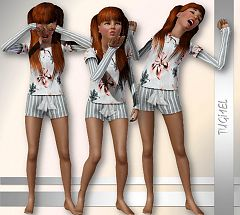 Sims 3 pajamas, teen, sleepwear, cloth, clothes