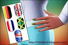 Sims 3 nail, accessory, females, flag