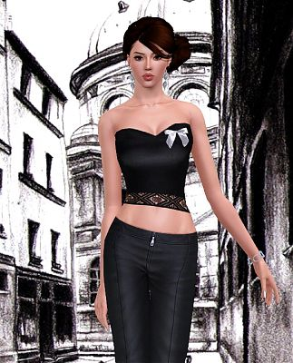 Sims 3 top, clothes, fashion, females, blouse, corset, lace, ribbon