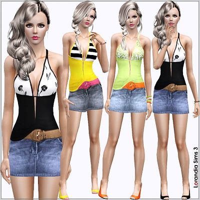 Sims 3 cloth, clothing, outfit, fashion, casual, set, blouse, belt, denim, skirt