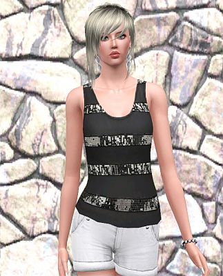 Sims 3 tank, top, blouse, sequin, stripes, Sims 3