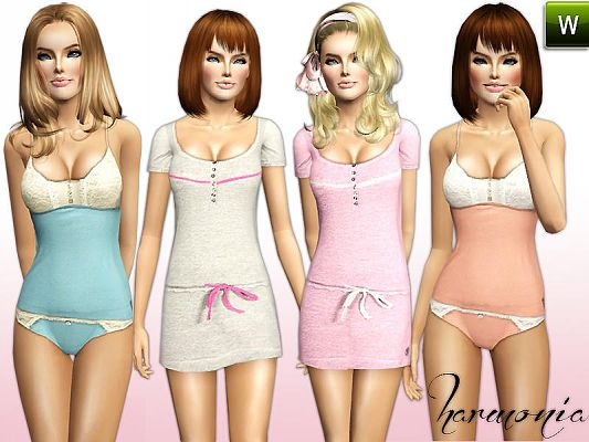 Sims 3 lingerie, outfit, clothing, female, fashion