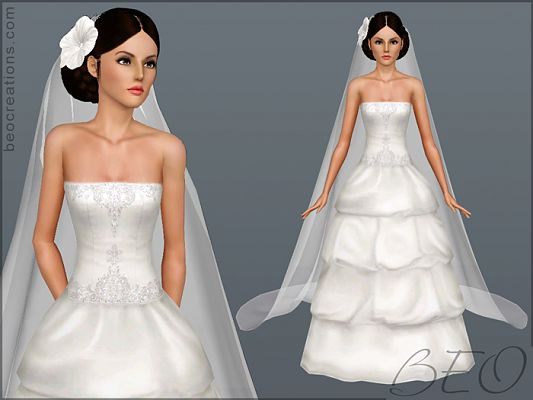 Sims 3 wedding, accessory, veil, necklace, bridal