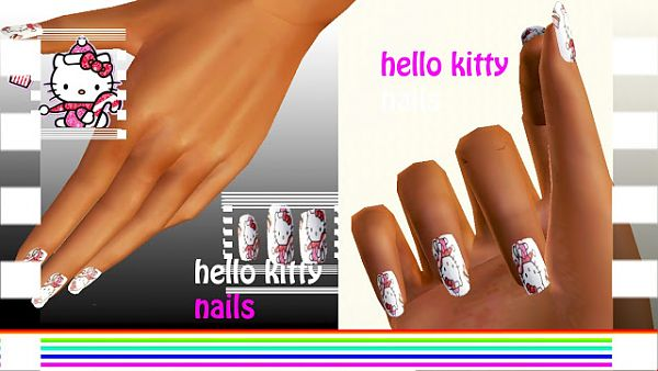 Sims 3 nail, accessory, females, hello kitty