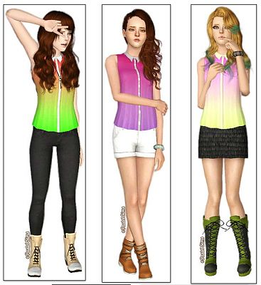 Sims 3 top, clothes, fashion, females, blouse