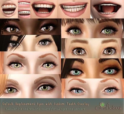 Sims 3 eyes, contact lenses, teeth, female, makeup, sims3