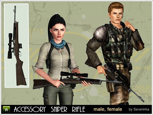 Sims 3 rifle, soldier, outfit, staker, map