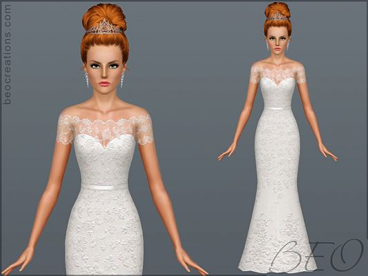 Sims 3 bride, wedding, dress