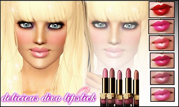 Sims 3 lips, lipgloss, gloss, lipstick, makeup, female, sims3